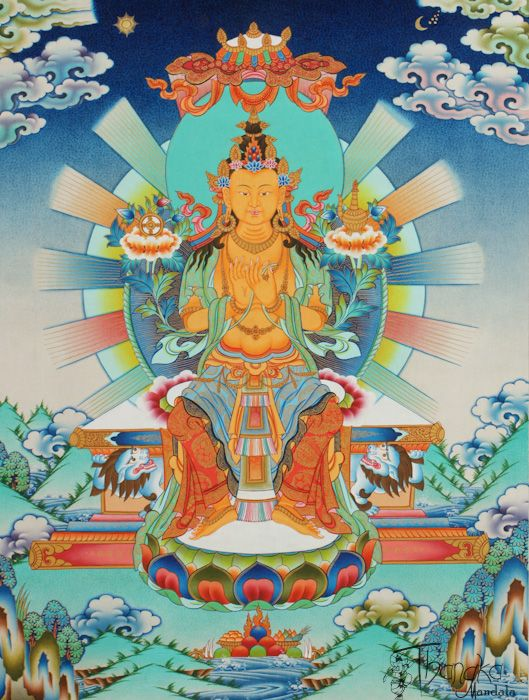 "Maitreya Buddha - The Buddha to come ""he who loves"" here we see Maitreya in the form of a boddhisattva sitting atop the throne of the Tushita Heaven"