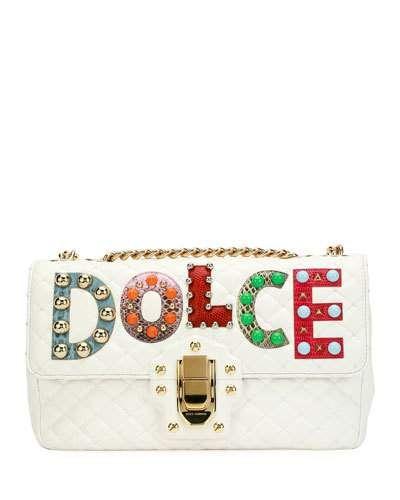 95d54d97c0 Dolce   Gabbana Lucia Dolce Patch Napa Leather Shoulder Bag ...