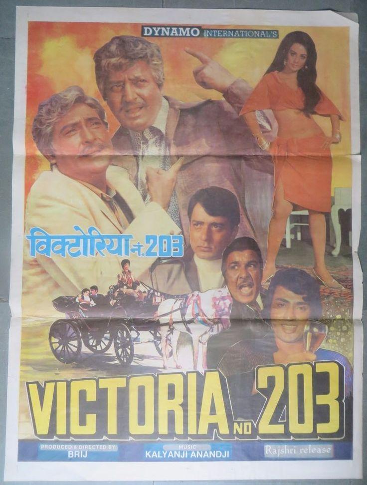1972 Bollywood Movie Poster Victori No.203 Stars: Ashok Kumar Pran Navin Nischal