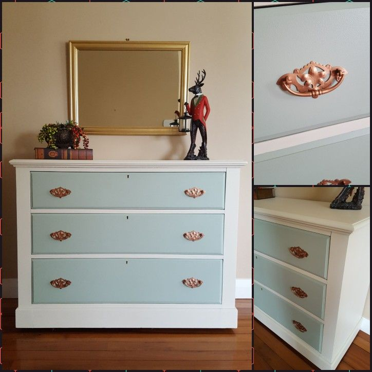 Stunning antique scotch chest painted with Valspar Oliver's Army & Natural Cream. Love the rose gold handles .