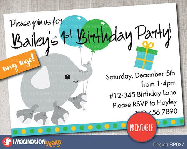 Personalized Elephant Birthday Party Invitation PRINTABLE DIY / Baby Elephants Birthday / Printable Invite / Custom Invitation / Baby's 1st - pinned by pin4etsy.com
