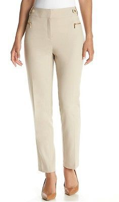 NWOT CALVIN KLEIN WOMEN'S LATTE ZIP POCKET STRAIGHT PANTS SIZE 8