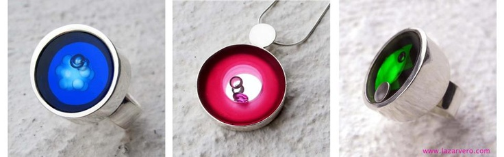 Glass silver and mooving diamonds rubin opal in one jewelly by Szasz Karoly