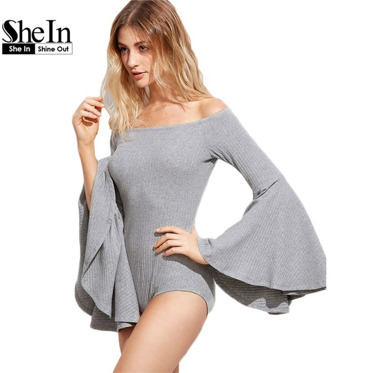 SheIn Grey Women Tops and Blouses 2016 Long Flare Sleeve Off Shoulder Tight Tops Fall Ladies Sexy Women Bodysuit