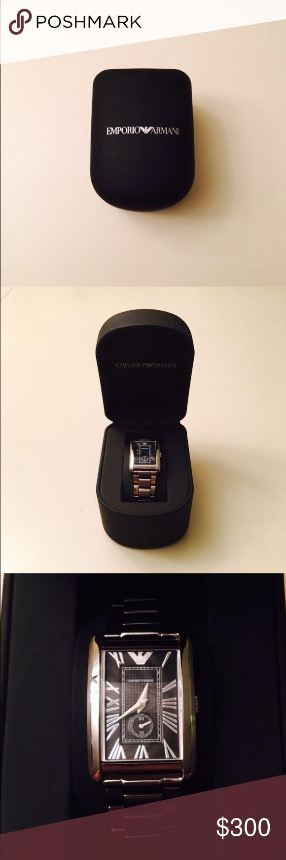 🎉SALE🎉Emporio Armani Watch Emporio Armani men's silver and black watch. Brand new in box. In perfect condition, just needs a new battery! Emporio Armani Accessories Watches