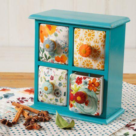 The Pioneer Woman Flea Market 4 Drawer Distress Spice BOX, Multiple Colors, Blue