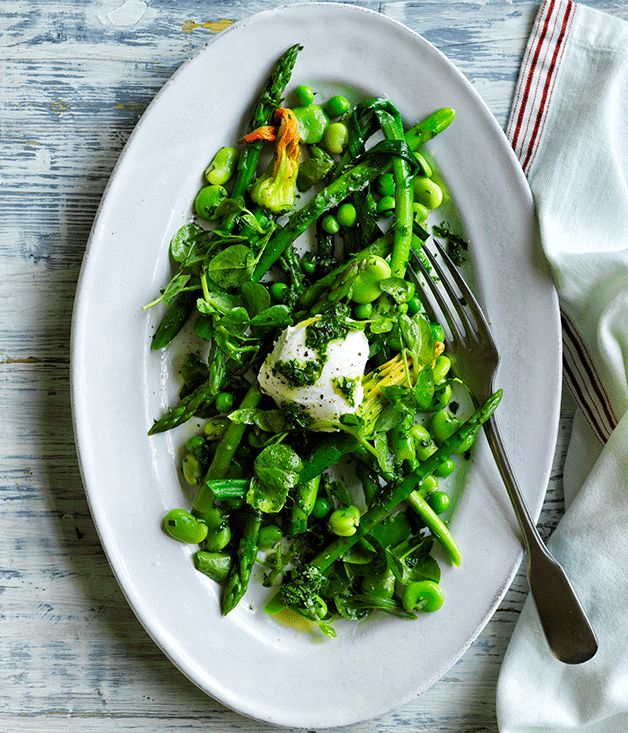 Creamy goat's curd and crisp spring vegetables come together in this herbaceous French salad.