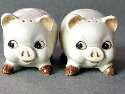 Vintage Ceramic Pig Salt and Pepper Shaker Set 1950s. $14.00, via Etsy.
