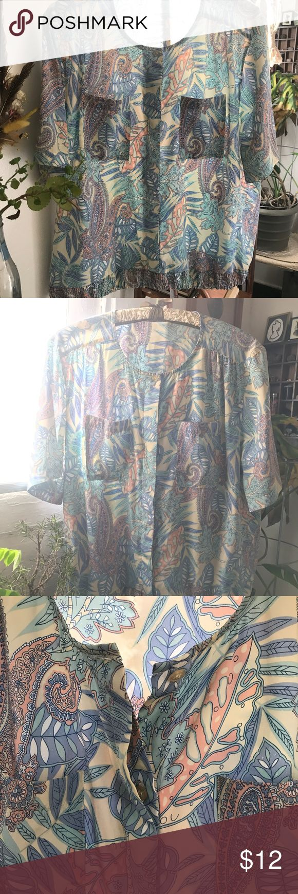 Golden Girls Vintage Pastel Floral Leisure Blouse Golden Girls inspired Pastel paisley/floral semi-tropical late 80s polyester leisure top. Thin and breezy with a scoop neck hidden-button up top coming together in a casual elastic waist for days when you're in the sun, sailing or half passing out with a glass of wine in a real or imaginary hammock. A size L but looks best on S. Could be easily modified into a dope crop top for summer when you need to be water balloon fight ready. Tops…