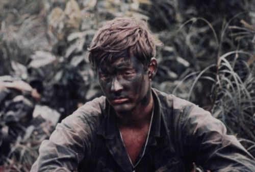 "During Operation ""Bushmaster"", a member of Company  ""L"", (Ranger), 75th Infantry, sits alone with  his thoughts while waiting to participate in an assault mission against North Vietnamese Army forces in Vietnam in August of 1971."