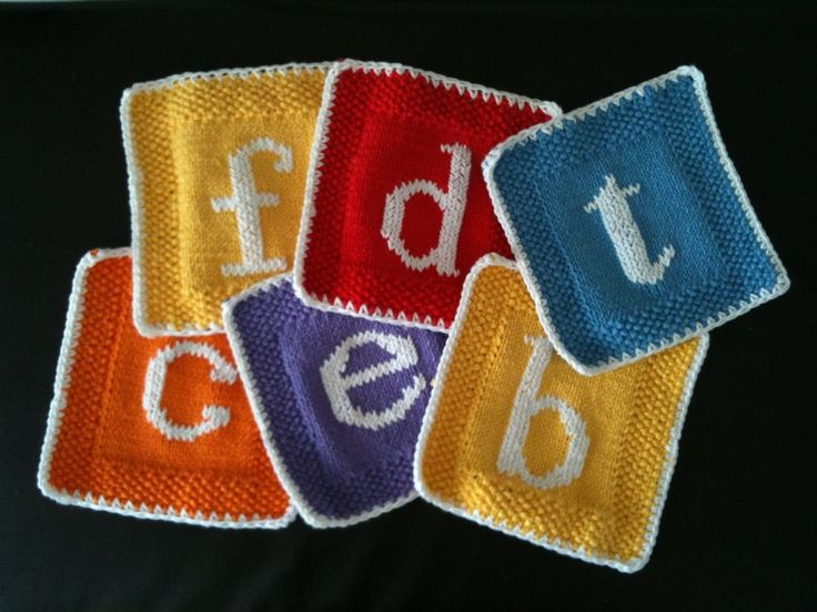 Free Knitting Patterns Dishcloths Alphabet : Monogrammed knitted dishcloth - free pattern ...