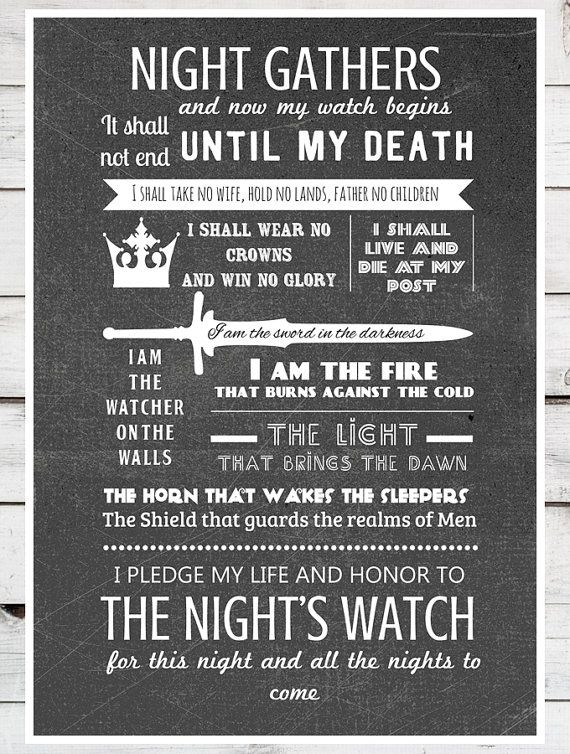 Game of Thrones  The Night's Watch Oath  A4 by TeacupPiranha, £11.00