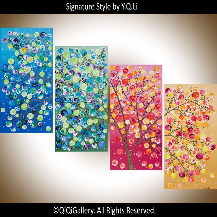 Original art Large Abstract Painting Landscape by QiQiGallery, $365.00