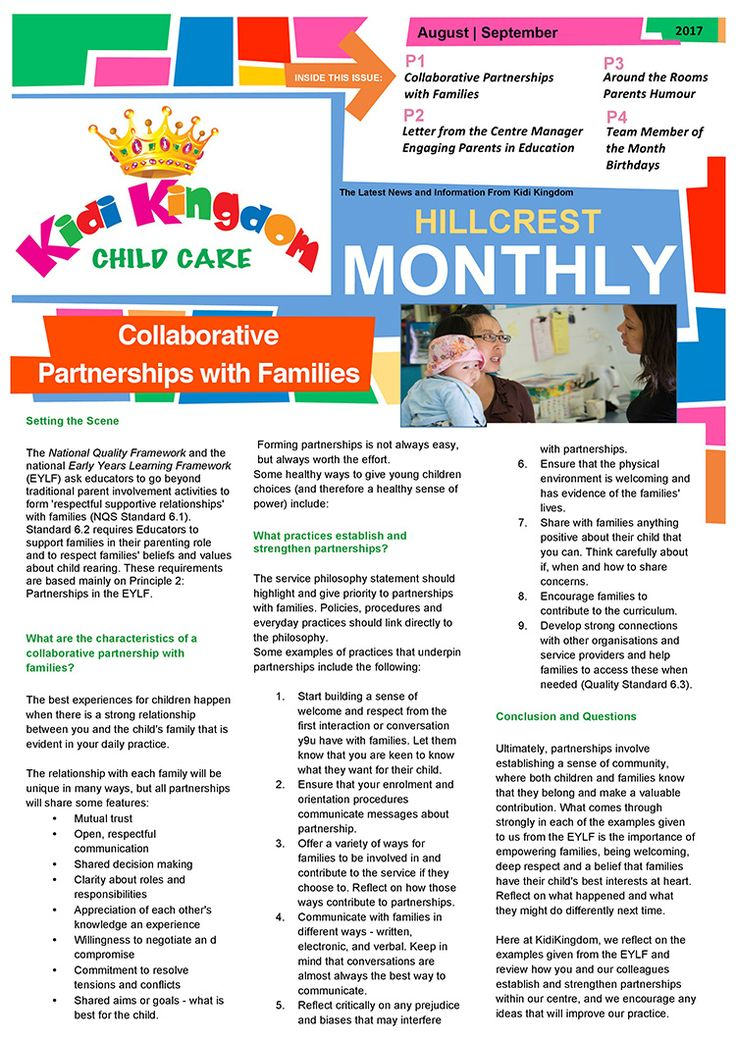 Welcome to the August / September Edition of Kidi Kingdom - Hillcrest News.  #Newsletter #ChildCare #Kindergarten #ChildrenFun #HappyChildren