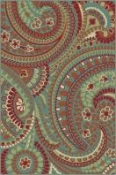 "Stylish paisley pattern with a lively appeal. This transitional area rug is versatile enough to span a variety of decors. Options include rounds and a three piece set for a coordinated look throughout the home. Teal blue background with snowy ivory, pear green, cranberry red, russet, ecru gold, mushroom taupe, and espresso brown. Machine made of soft polypropylene that is naturally stain-resistant and easy to maintain. The three piece set includes a 5' x 7', 1'8"" x 5' and a 1'8"" x 2'8""."