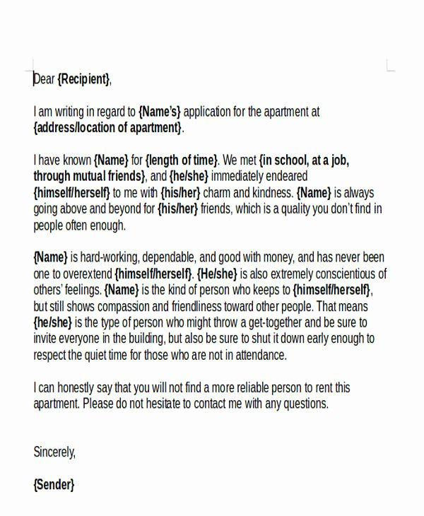 Personal Reference Letter For Apartment Lovely 47 Examples Of Reference Letters Word Google Personal Reference Letter Reference Letter Letter Of Recommendation