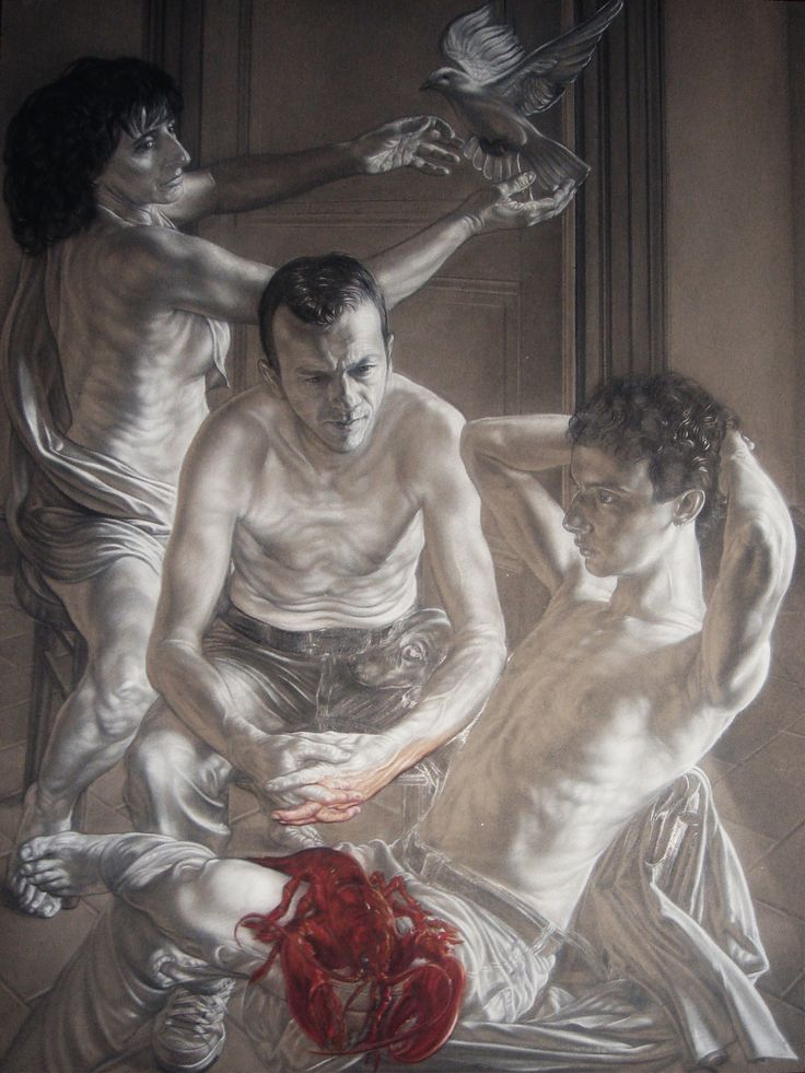 """Achille's family"" pencil, white conté and oil pastel on grey paper on panel cm 110x150"