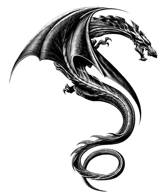 un dragon noir volant avec une queue noire et une grosse bite noire   – Tattoo-Ideen