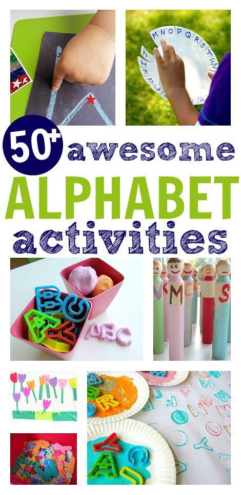 50 awesome alphabet activities. Fine motor, gross motor, outdoor, creative, matching, etc.