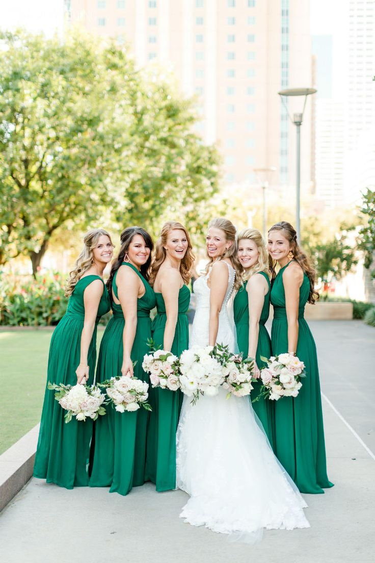 248 best bridesmaids dresses images on pinterest marriage emerald green bridesmaids dresses with greenery bouquets elegantwedding ombrellifo Gallery