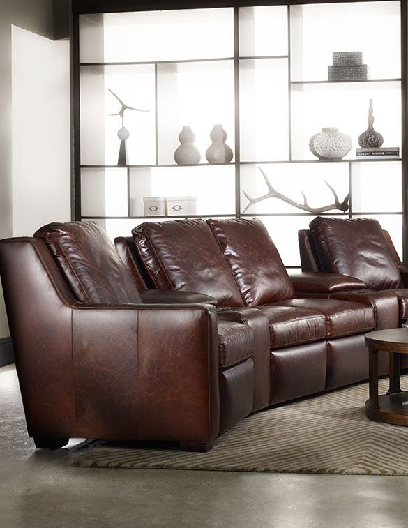 Theater seating looks amazing with Bradington Young's beautiful leather Connery sectional.