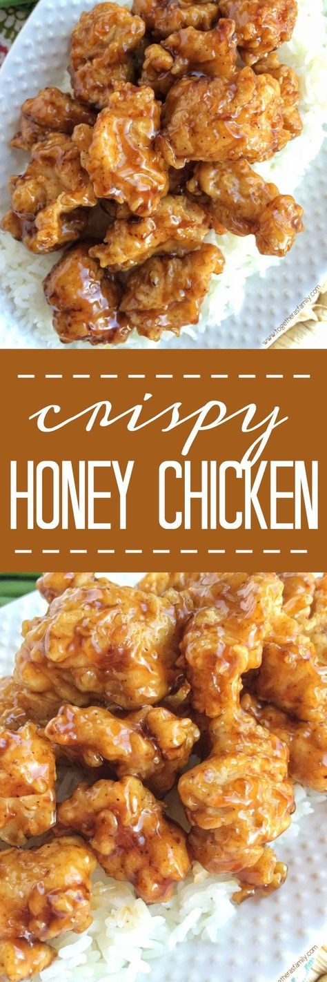 Chunked chicken coated in seasoned flour and then dipped in buttermilk, fried until super crispy, and then soaked in a sweet honey soy sauce. This crispy honey chicken turns out incredible and is so delicious! You'll love the crispy coating and texture.