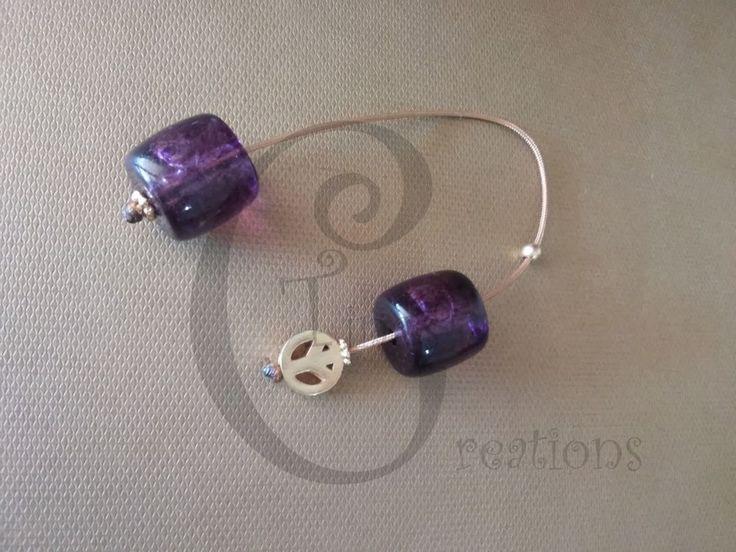 Greek Begleri mini komboloi purple transparent 15mm bead gp peace  tina creation