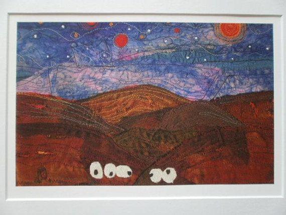 Sheep Textile Art Giclee Print