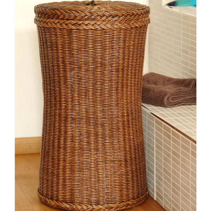 Tall Wicker Laundry Basket|Tall Laundry Basket - Candle and Blue