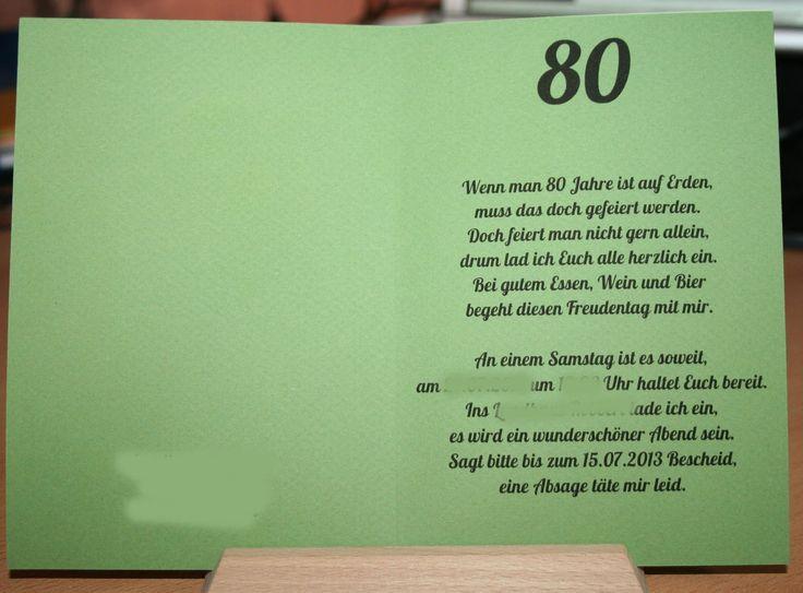 25+ best ideas about 80 geburtstag gedichte on pinterest | sprüche, Einladung