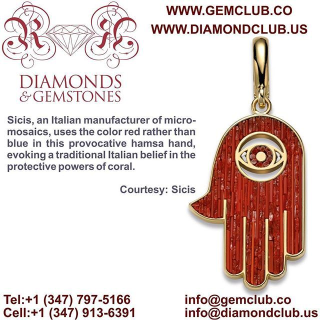 Sicis, an Italian manufacturer of micro-mosaics, uses the color red rather than blue in this provocative hamsa hand, evoking a traditional Italian belief in the protective powers of coral. #DiamondClub & #GemClub #Appraiser #Appraisal #Diamond #Gemstones #Jewelry #Watch #Antiques #Pearl #Ruby #Sapphire #Emerald #Gold #Silver #Platinum #Palladium #Luxury #Earrings #Ring #Bracelet #Pendant #Necklace #Brooch #Wedding #Anniversary #Valentine
