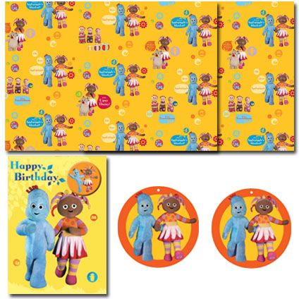 In The Night Garden official birthday pack includes: 1 x Birthday Card  2 x Sheets of Flat Wrap  and 2 x Gift Tags. Only £4.50 and Free UK Delivery.   Have a closer look at https://www.danilo.com/Shop/Cards-and-Wrap/Birthday-Packs/In-the-Night-Garden-Birthday-Pack