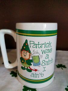 Vintage-St-Patrick-039-s-Day-Irish-Leprechaun-Russ-Beer-Coffee-Mug-Collectibles