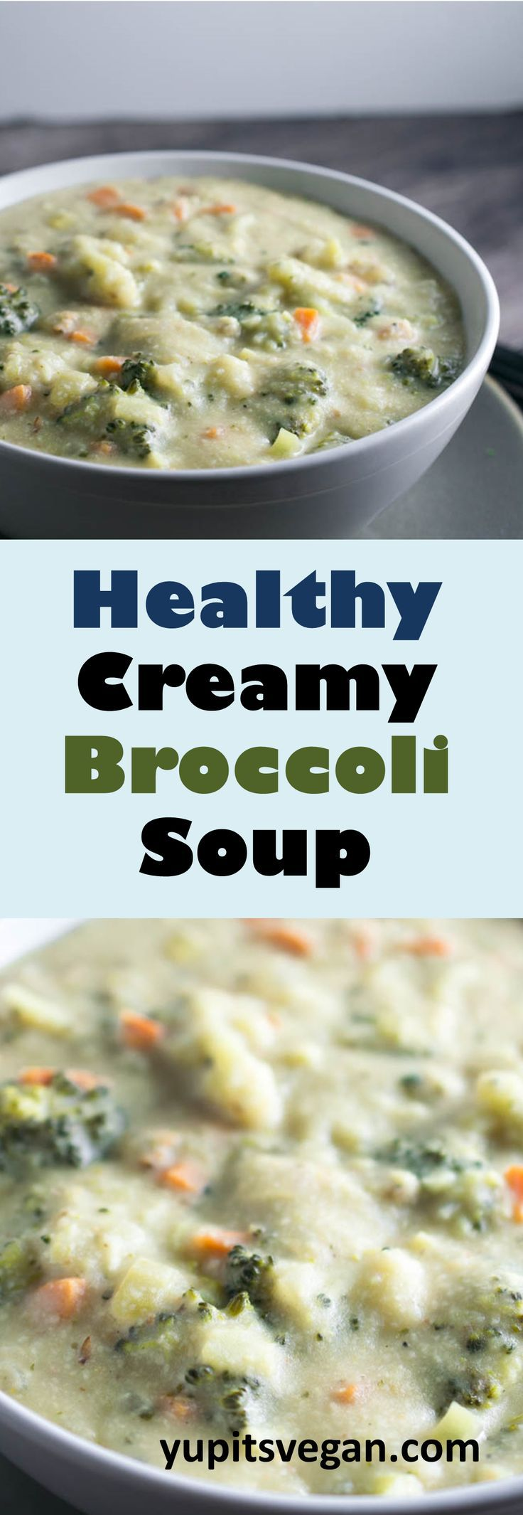 Creamy broccoli soup that tastes rich and delicious but is secretly healthy! You will never guess that it's vegan and full of unexpected nutritious ingredients! #vegan #glutenfree #soup #broccoli