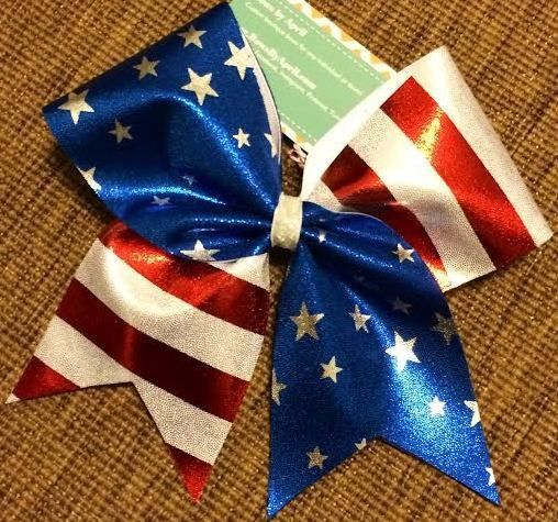 Bows by April Express - 4th of July Stars and Stripes Mystique Cheer Bow, $12.00 (http://www.bowsbyaprilexpress.com/all-bows/4th-of-july-stars-and-stripes-mystique-cheer-bow/)