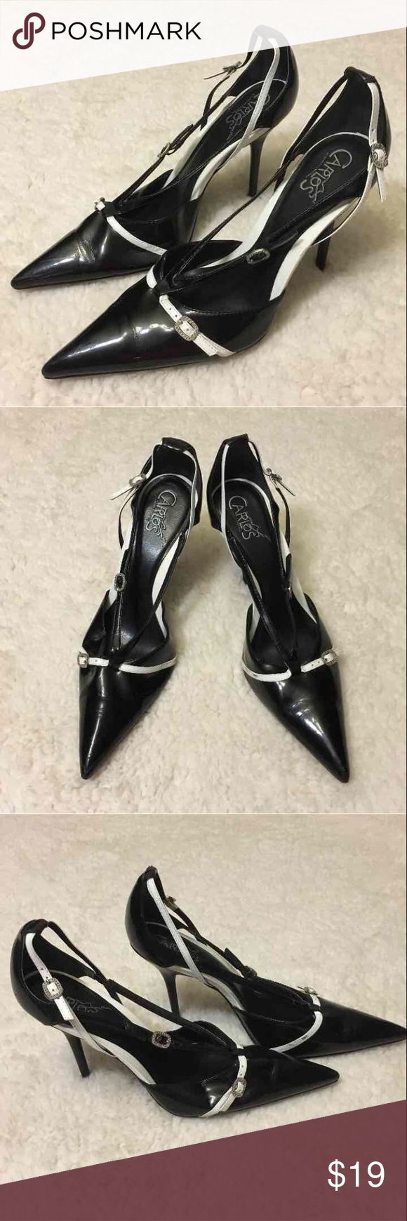 Carlos Santana Expose Black and White Pumps Size 9 women's. Black and White Strappy Design with Buckle. Expose style by Carlos Santana. Some creases in the front due to wear, but overall great condition 😊 Carlos Santana Shoes Heels
