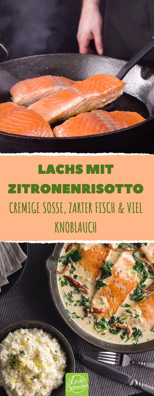 Die Cremigkeit der Soße macht den zarten Lachsfilets gehörig Konkurrenz! Der frische Reis ist die perfekte Ergänzung dazu. #leckerschmecker #kochen #rezept #fisch #lachs #risotto #reis #zitrone #spinat #sahnesoße #soße #cremig #zart #bratfisch #knoblauch #getrocknete tomaten #tomaten #zitronenschale #zitronenabrieb #fischfilet #frisch #brühe #gemüsebrühe #genuss #schalotte #zwiebel #gäste #mittagessen #abendessen #küche #menü