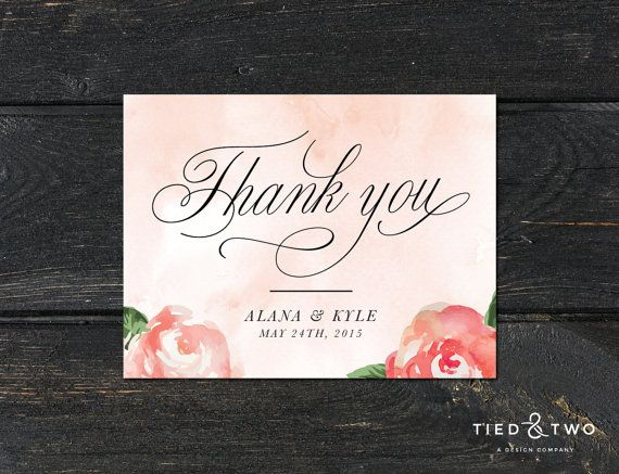 This unique, custom thank you card set combines a romantic watercolor background with a modern script font. You can change the wording, color, size and information. ------------------------  PRINTED SUITES  The default listing price is for 1 premium thank you card suite that includes:   • 1 single-sided folded A2 thank you card  • 1 Euro flap A2 blank white envelope This suite is sold in increments of 10, with a minimum order quantity of 20. Please choose the final quantity desired when…