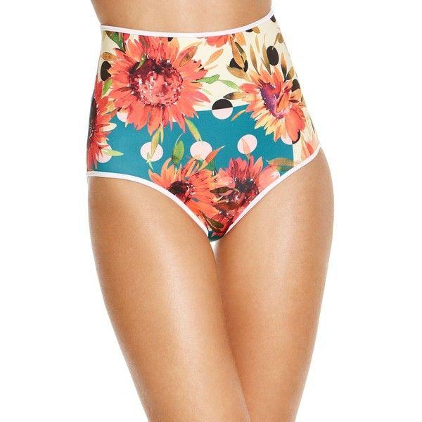 Clover Canyon Sunflower Dreams Neoprene Bikini Bottom (€90) ❤ liked on Polyvore featuring swimwear, bikinis, bikini bottoms, yellow, high-waisted swimwear, yellow bikini bottoms, high waisted bikini, yellow bikini and floral high waisted bikini bottoms
