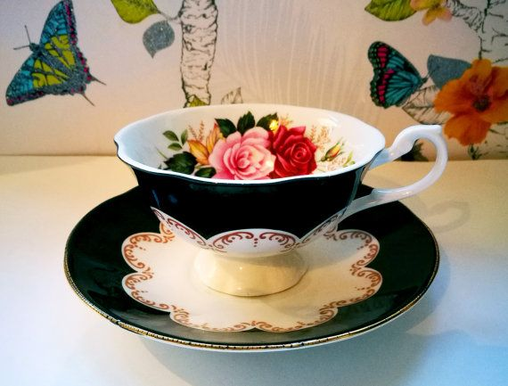 Ebony Rose cup and saucer by Rosina Queens china, Vintage china tea cup and saucer, Vintage English bone china, Floral china cup and saucer