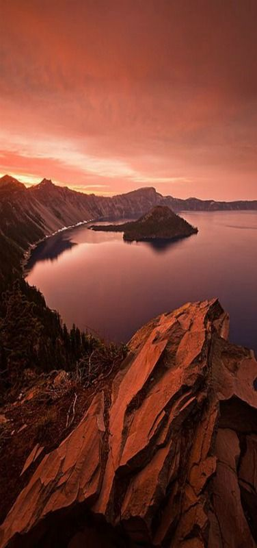 Sunset, Sunrise from the south shore of Crater Lake near the parks Rim Village. Crater Lake National Park is in south western Oregon state | by Scott Spiker