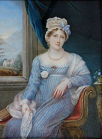 1818 (estimated from inscription) Princess Charlotte Augusta of Wales by Charlotte Jones. Many posthumous portraits were painted of Princess Charlotte, who died in childbirth in 1817.