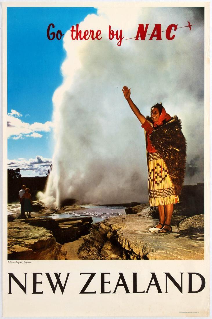 Vintage Travel Poster - New Zealand - Pohutu geyser -  NAC - New Zealand National Airways Corporation - 1960's -