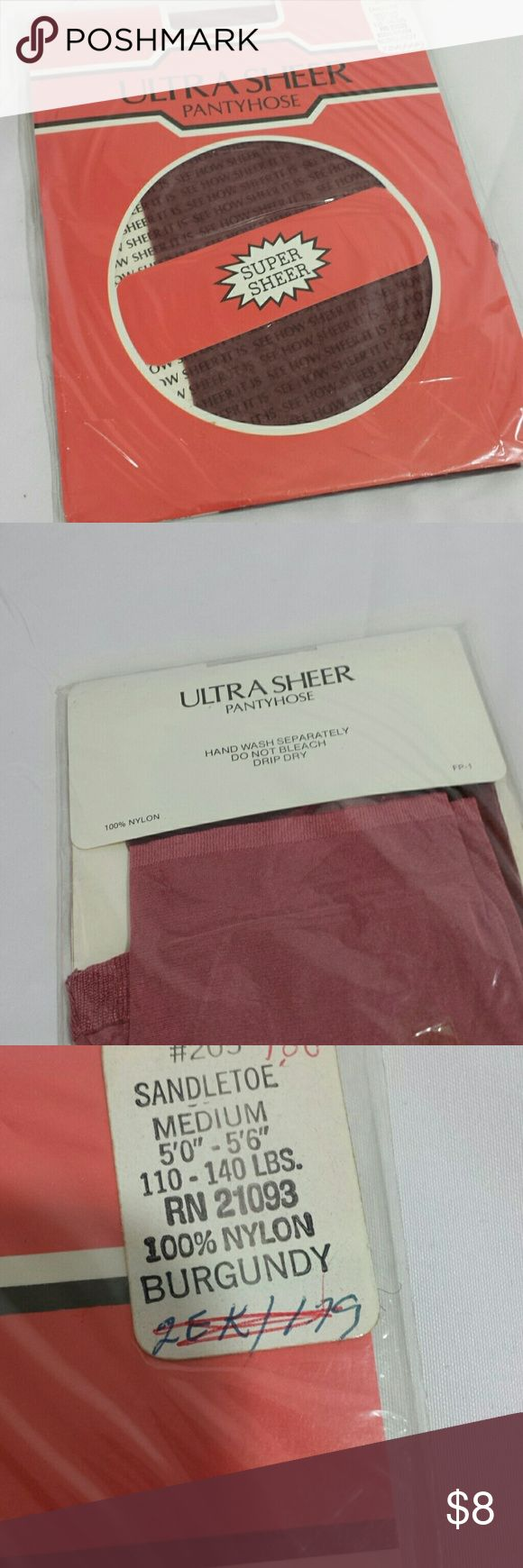 Vintage 1960s Petite Ultra Sheer Pantyhose New in package,  just old stock from the 1960s!   Great for vintage lover!  Very soft 100 nylon, burgandy color Intimates & Sleepwear