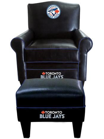 Toronto Blue Jays Leather Game Time Chair and Ottoman