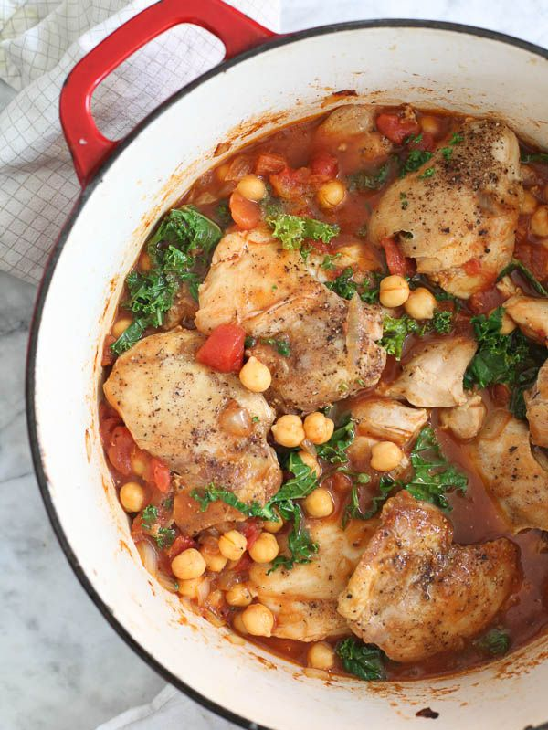 Tabasco Braised Chicken with Chickpeas and Kale | Recipe