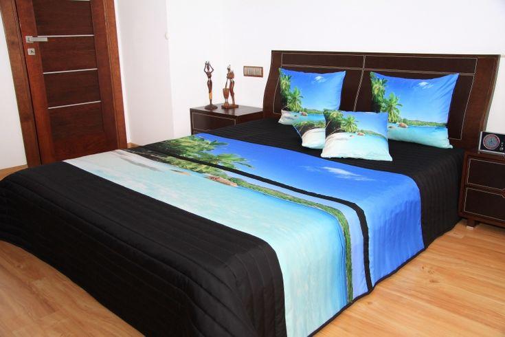 Narzuty 3D na łóżko w kolorze czarnym z morzem i palmami