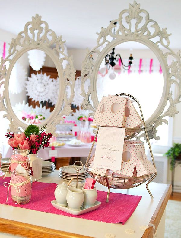 vintage lace and tea party babyshower - with shabby chic pic. frames