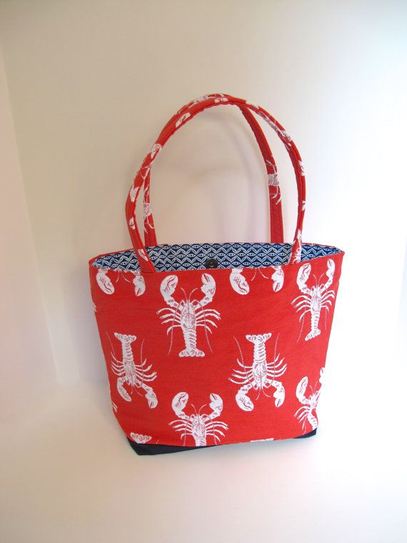 SALE Lobster handbag, lobster tote, medium tote, nautical handbag, nautical purse, nantucket red, maine gift was 69.00