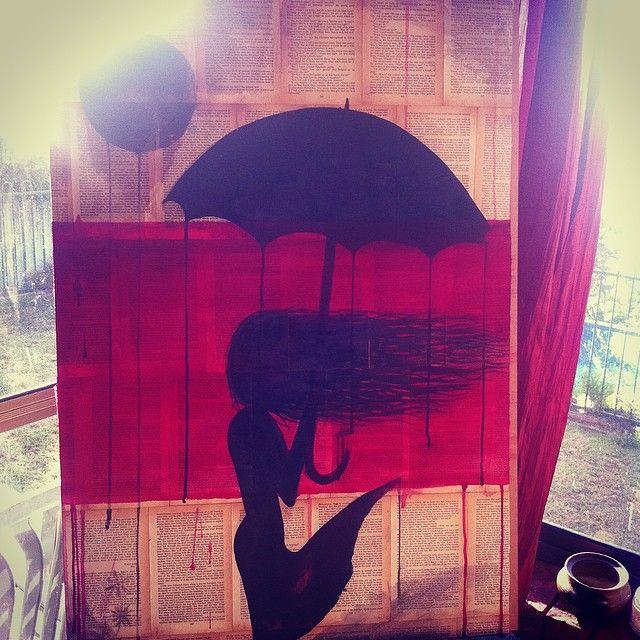 painting, art, women, umbrella